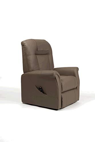 SoNa24 Aufstehsessel Ontario 2, elektrischer Fernsehsessel, 2 Motoren, Relaxsessel bis 150 kg (Skai taupe)