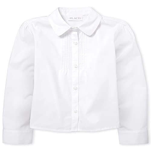 The Children's Place Girl's Long Sleeve Pintuck Poplin Button Down Shirt, White, Medium