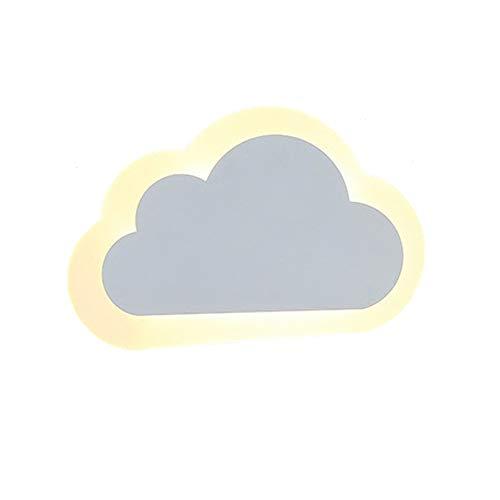 VOMI Moderno Lampara de Pared Infantil Nube Forma LED Aplique Pared, 10W Blanco Cálido, Luz de Noche Cuarto de Los Niños JardíN de Infantes, para Salon Dormitorio Sala Pasillo Escalera, 25 * 16 * 5 cm