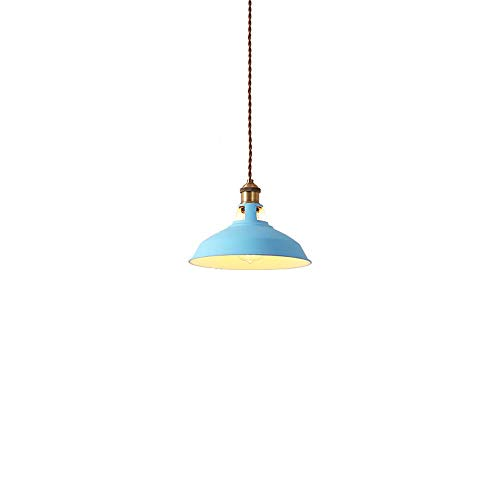 Xiao Fan * Scandinavisch ijzer hanglampen creatieve minimalistische moderne restaurant lamp Cafe Bar Night Macaron pan afdekking plafond kroonluchter lamp (kleur: blauw)