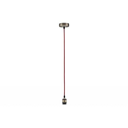 Paulmann 50323 Vintage pendel met E27-fitting en stoffen kabel Retro plafondlamp rood/geborsteld kabel met fitting zonder lamp fitting