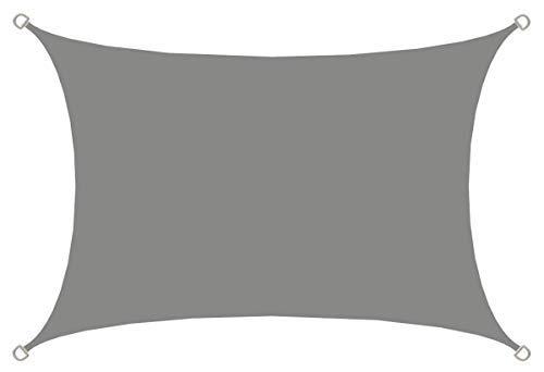 AMANKA UPF50+ UV Sonnensegel - 2x3 Polyester Rechteck Wasserabweisend Wetterfest Garten Balkon Grau