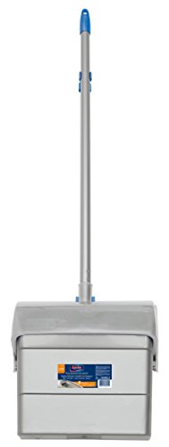 Spontex Set Recogedor y Escoba con Sistema Abre-Cierre Automático, Azul, Mediano