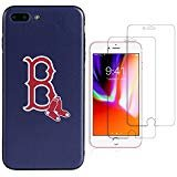 """Sportula MLB Phone Case Matching 2 Premium Screen Protectors Extra Value Set - for iPhone 7 Plus/iPhone 8 Plus (5.5"""") (Boston Red Sox)"""
