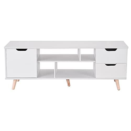 TANGIST Gabinete de TV con 3 cajones 140x30x45cm TV Blanco Soportes fáciles de ensamblar el Almacenamiento en casa Muebles de Sala de Estar con Estilo (Color : White)