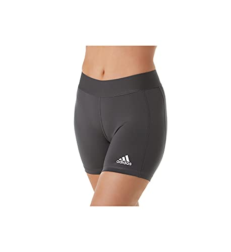 "adidas womens Alphaskin Volleyball 4-Inch Shorts Tights Team Dark Grey/White Large 5"""