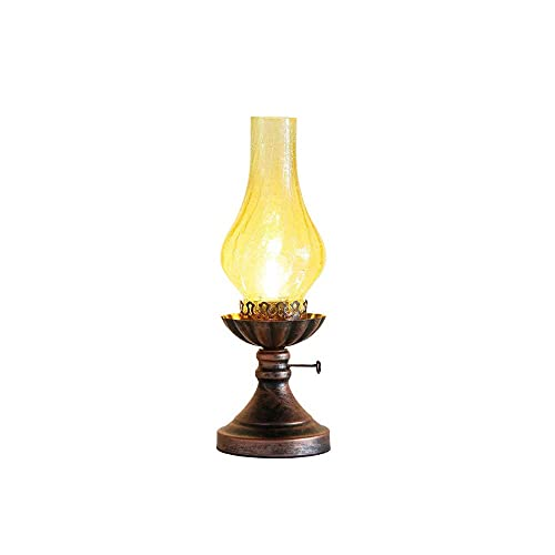 Kfhfhsdgsactd Lámpara Mesilla Noche, Lámpara de keroseno lámpara de mesa de vidrio para la mesa de la sala de estar mesa de comedor de la sala de estar de la sala de estar de la sala de estar de la ce