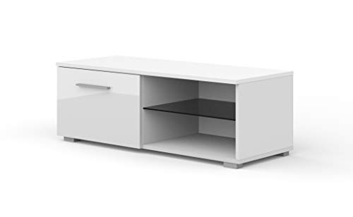 BIM Furniture TV Lowboard kast Mona 100 cm TV tafel dressoir TV commode hifi-tafel modern Wit zonder LED