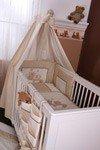 7-tlg. Bettset mit Stickerei Joy in beige inklusive Babyschlafsack + Babybetttasche