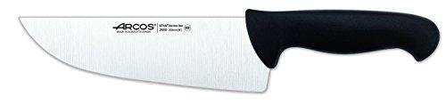 Arcos Serie 2900, Cuchillo Carnicero Ancho, Hoja de Acero Inoxidable Nitrum de 200 mm, Mango inyectado en Polipropileno Color Negro