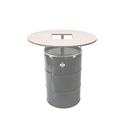 Rogge´s RelaxGrill Runde Tischplatte d = 100cm, mit Ausschnitt, 21mm Multiplex-Holz mit unbehandelter Oberfläche, für 210L Ölfass als Stehtisch, Öltonne, Tonne, Fass, Feuertonne, Stahlfass