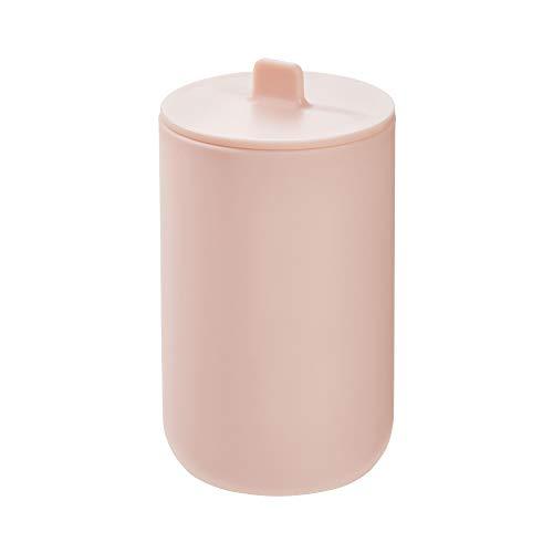 iDesign Algodonero con tapa, bote con tapa redondo y de plástico para guardar cosméticos y maquillaje, accesorios de baño para bastoncillos y discos de algodón, rosa