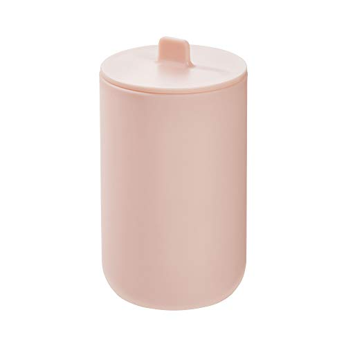 Price comparison product image iDesign Storage Box with Lid,  Small Bathroom Storage Pot for Cosmetics and Make-Up,  Round Plastic Cotton Bud and Cotton Pad Holder for the Bathroom,  Pink