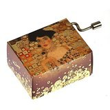 Hand Crank Music Box Art & Music: Plays Humperdinck Free as The Wind. Design Gustav Klimt Woman in Gold