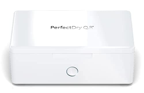 PerfectDry Q.R. 45 min. Ultra Fast Hearing Aid Dryer & Dehumidifier Accessory   Dry Box Kit   Removes Sweat & Moisture from Hearing Aids, Airpods, Wireless Earbuds, Ear Amplifiers, Cochlear Implants
