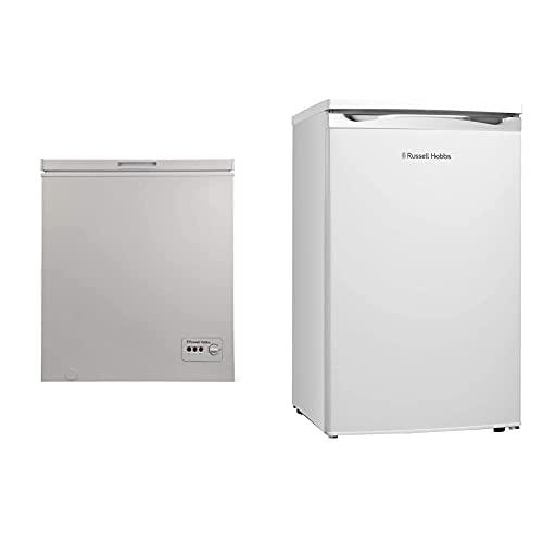 Russell Hobbs RHCF150 Freestanding Chest Freezer 142L, White & RHUCLF2W White Under Counter 50cm Wide Freestanding Larder Fridge, Free 2 Year Guarantee