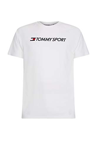 Tommy Hilfiger Sport Training Mesh Logo Shirt Uomo, Bianco, L