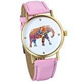 JewelryWe Damen Armbanduhr, Elegant Charm Analog Quarz Leder Armband Uhr mit Bunt Elefant Zifferblatt, Pink