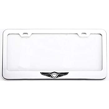 1 Mesport Carbon Fiber Style Stainless Steel Rust Free License Plate Cover Frames Holder with Screw Caps for GMC