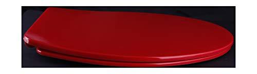 Grünblatt WC Sitz 515304 Toilettendeckel oval Klodeckel mit Quick-Release-Funktion und Geräuschlose Absenkautomatik, Hochwertige Antibakterielle Duroplast, rot