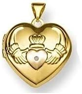 PicturesOnGold.com Solid 14K Claddagh Yellow Gold Heart Locket 3/4 Inch X 3/4 Inch-14K Yellow Gold