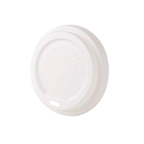 Bionatic Spain Tapa de plastico ecologico PLA Plana con Agujero para Beber para Vasos de cartón (Ø 90 mm) para Vasos con Capacidad de 250, 300 y 400 ml. 50 Unidades