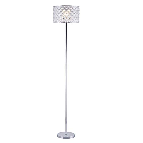 Floor Lamps for Living Room, Bedroom, Floor Lamp with Chrome Base and Glittery Lampshade