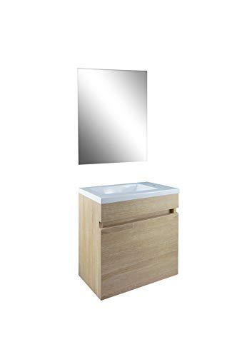 STARBATH PLUS Conjunto Mueble de Baño Suspendido MDF Lavabo Resina Espejo (Marron Roble, 40 x 22 cm)