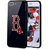 """Sportula MLB Phone Case Compatible for Apple iPhone 7 Plus, iPhone 8 Plus (5.5""""), Non-Fading Tempered Glass Cover, Hard PC Protective Board, Reinforced TPU Bumper Hybrid Case (Boston Red Sox)"""