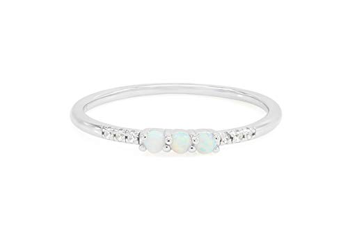 (20% OFF) 14K White Gold Over Silver Synthetic Opal Rings $11.99 Deal