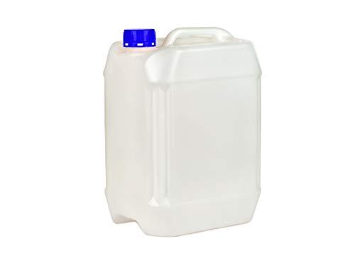 Jerrycan met deksel PE natuur, lege jerrycan voor epoxyhars, lak, verf, olie, zuur, drinkwater - geschikt voor levensmiddelen, 6 x 10l