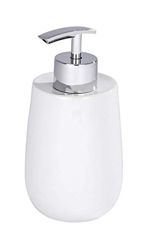 WENKO Seifenspender Malta - Flüssigseifen-Spender, Spülmittel-Spender Fassungsvermögen: 0,3 l, Keramik, 7,5 x 15 x 8 cm, weiß