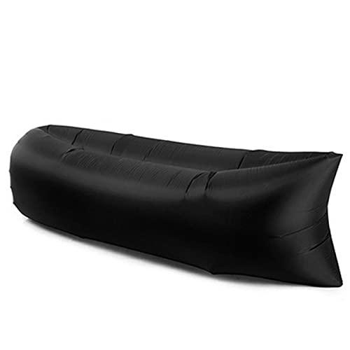 yui Silla plegable para camping, playa, picnic, sofá inflable, saco de dormir ultraligero, cama de aire, sofá hinchable, muebles de exterior, sillas plegables para exteriores (color negro)