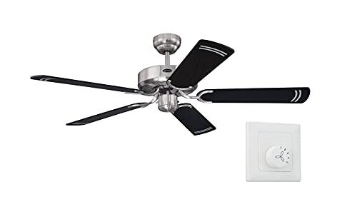 Westinghouse Ventilador de techo sin luz Cyclone 132 cm para habitaciones de hasta 25 m², [modelo/color]: acero cepillado con interruptor de pared
