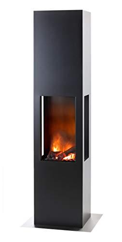 muenkel design Prism Fire L - Opti-Myst Elektrokamin Kaminofen Kamin - mit Heizung (Engine 68) - Dekoholz mit Stehrost gezackt - Korpus Schwarz/Grau