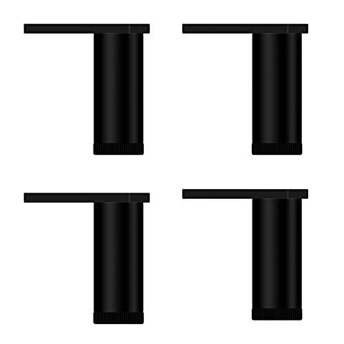 4 patas de muebles, patas de metal modernas triangulares para muebles, protector de suelo ajustable de aleación de aluminio con tornillos, utilizado para TV, armario, sofá, silla (negro)
