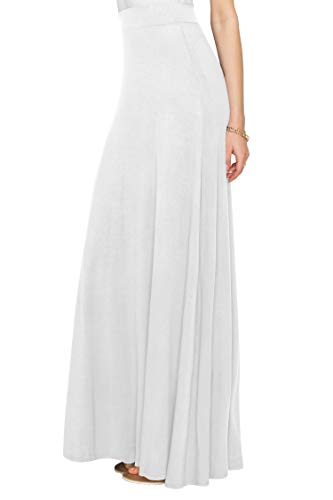 WDR1434 Womens Solid Maxi Skirt with Elastic Waist Band XXL WHITE