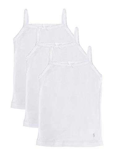 Feathers Girls Solid White Tagless Cami Super Soft Undershirts (3/Pack) 3 yrs, White