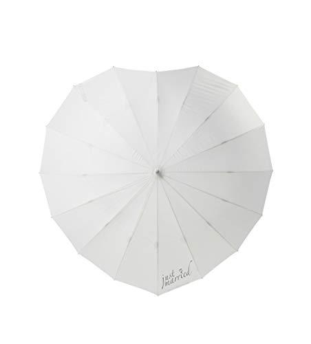 Herz Regenschirm Brautschirm Hochzeit Sonnenschirm Just Married Braut Schirm Weiß