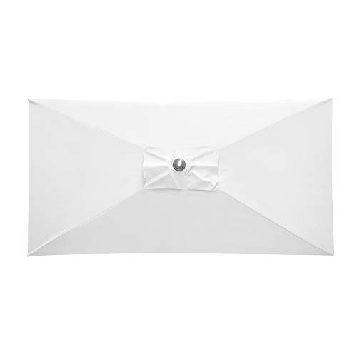 paramondo parajuna Sonnenschirm Kurbelschirm, Stabiler Stahlmast, Wasserabweisende Bespannung, Rechteckig, 2,3 x 1,3 m, Weiß, Gestell/Schirmmast in Anthrazit