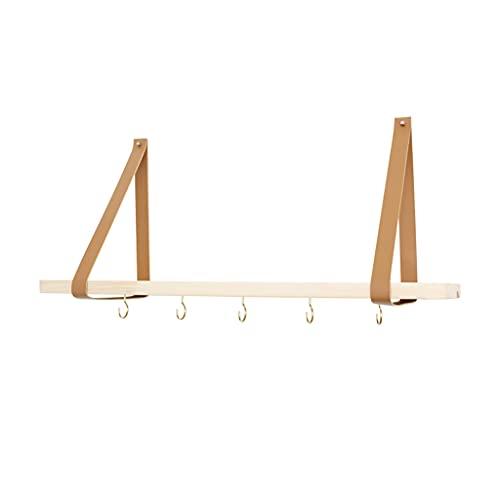 Estante flotante Estante flotante colgante, estantes de almacenamiento de madera montados en la pared, organizador de columpio con correa de cuero para decoración del hogar, cocina,(Size:50*16*28.5cm)