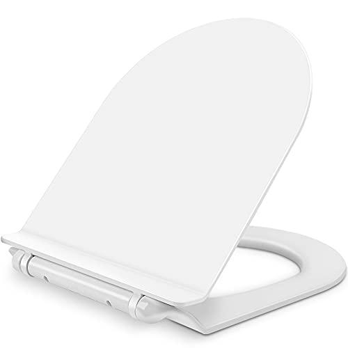 FINEW Tapa WC Universal, Asiento Inodoro con Cierre Suave, Liberación Rápida, Antibacteriano, Asiento de Inodoro en Forma de D, Blanco