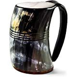 "Norse Tradesman Original Viking Drinking Horn Mug - 100% Authentic Beer Horn Tankard w/Natural Surface & Burlap Gift Sack |""The Original"", Unpolished,X X-Large"