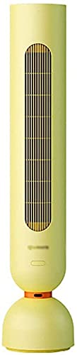 Qjkmgd Vertical Mute Energy-WHORK Abajo LEBLE sin Hojas Multifuncional Fan Office, 8h Temporizador, con Control Remoto (Color: Amarillo, Tamaño: 18 * 18 * 110cm)