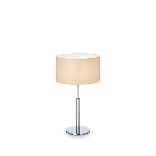 L'Aquila Design Arredamenti Ideal Lux Woody Wood Lampe de Table Abat-Jour Tissu 1 lumière étude TL1