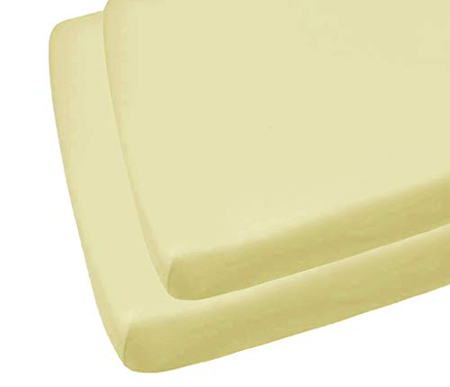2 draps-housses pour lit bébé Crème 70 x 140 cm