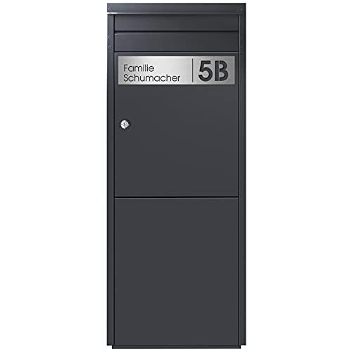 Stand-Briefkasten anthrazit freistehend (RAL 7016) MOCAVI SBox 301 Postkasten groß xxl mit Hausnummer und Name V4A-Edelstahl graviert rostfrei hochwertig