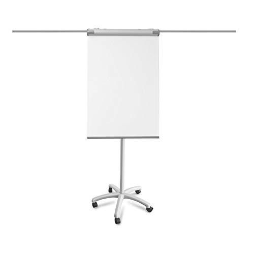 OfficeMarshal Rotafolios Portátil | Pizarra Magnética Caballete | PIRAÑA | Altura Ajustable hasta 2.2M | Brazos Laterales Extensibles | Soporte para Papel | 67X105 cm | con Ruedas