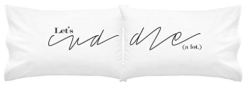 Oh, Susannah Let's Cuddle Pillow Cases His and Hers Couples Pillow Cases (Two 20x30 Standard Size Pillowcases) Long Distance Relationships Gifts