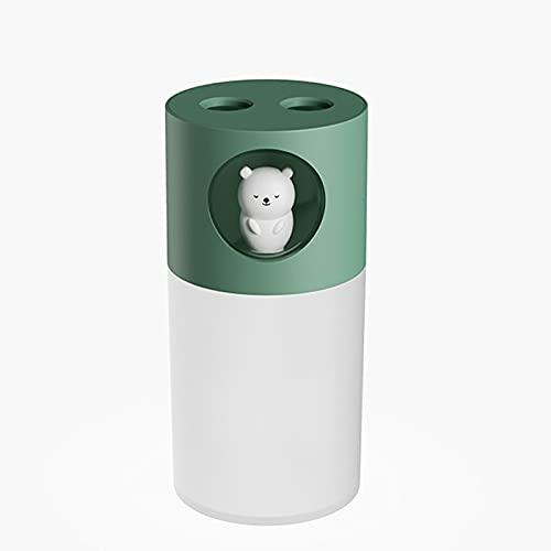 Humidificador de Aire Humidificadores Difusor Vaporizador Silenciosos Silencioso Bebes para Habitacion con Luz Pulverizador Spray Doble Silencio Escritorio USB Coche Aromaterapia Humedecer,Green